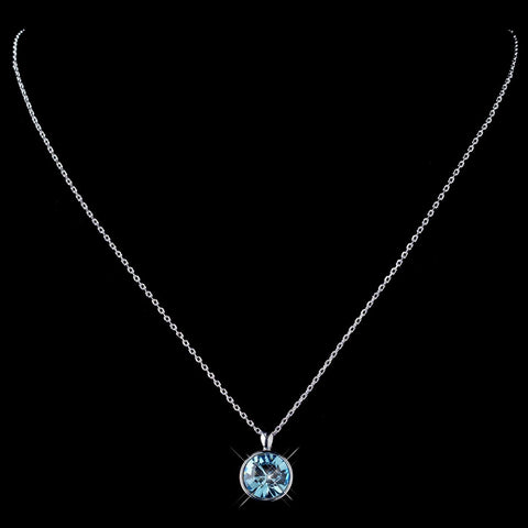 Silver Aqua Round Swarovski Crystal Element On Chain Bridal Wedding Necklace 9600