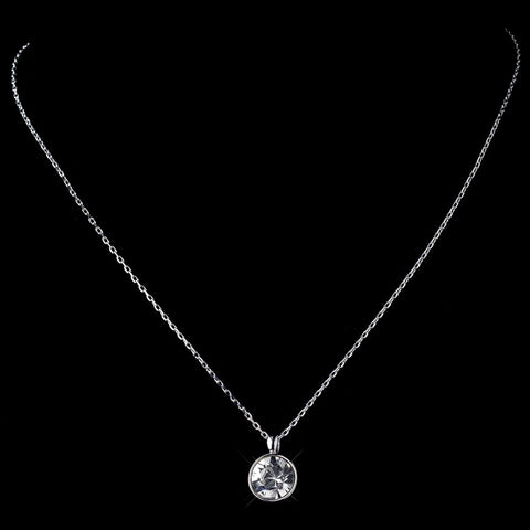 Silver Clear Round Swarovski Crystal Element On Chain Bridal Wedding Necklace 9600