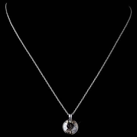 Silver Smoke Round Swarovski Crystal Element On Chain Bridal Wedding Necklace 9600
