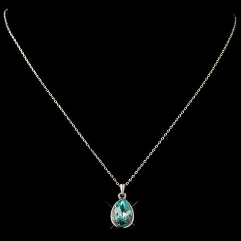 Silver Aqua Swarovski Crystal Element Teardrop Pendant Bridal Wedding Necklace 9602