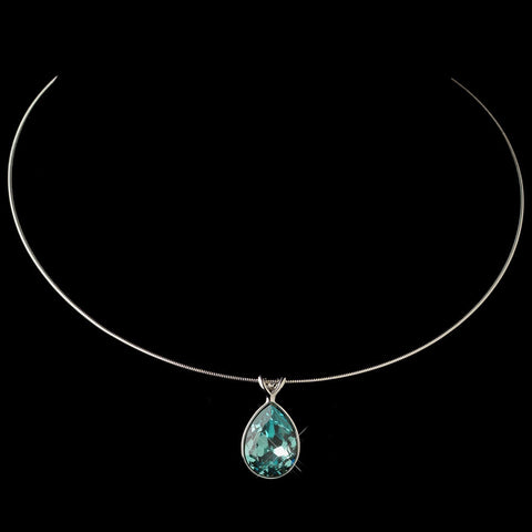 Silver Aqua Swarovski Crystal On Wire Teardrop Pendant Bridal Wedding Necklace 9604