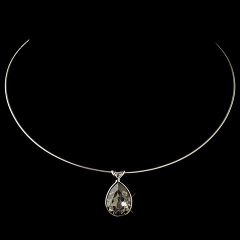 Silver Greige Light Grey Swarovski Crystal On Wire Teardrop Pendant Bridal Wedding Necklace 9604