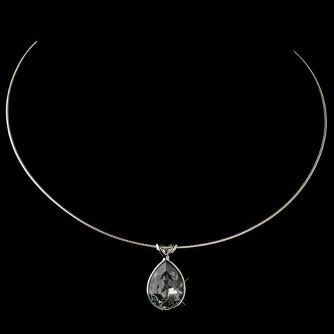 Silver Smoke Swarovski Crystal On Wire Teardrop Pendant Bridal Wedding Necklace 9604