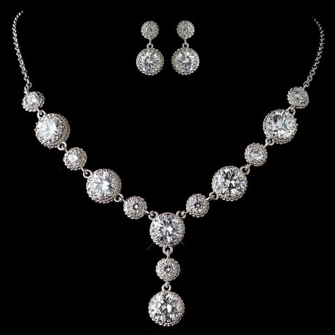Rhodium Clear CZ Round Crystal Bridal Wedding Necklace 9620 & Bridal Wedding Earrings 9732 Bridal Wedding Jewelry Set