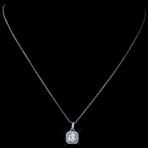 Rhodium Clear Princess Cut Pendant Bridal Wedding Necklace