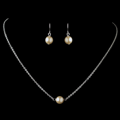 Silver Ivory Pearl Bridal Wedding Jewelry Set 9715
