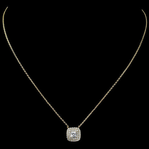 Gold Clear CZ Cushion Pendant Bridal Wedding Necklace 9790