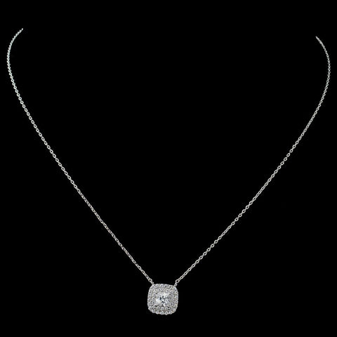 Rhodium Clear CZ Cushion Pendant Bridal Wedding Necklace 9790