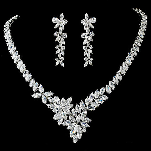 Stunning Cubic Zirconium Bridal Wedding Jewelry Set N 9830 E 4031