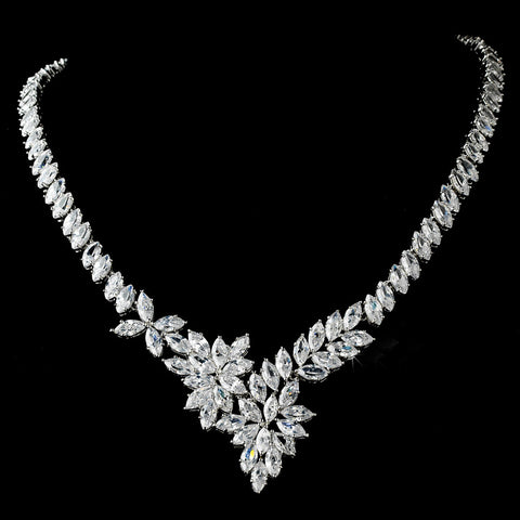 Stunning Marquise Cubic Zirconium Bridal Wedding Necklace N 9830