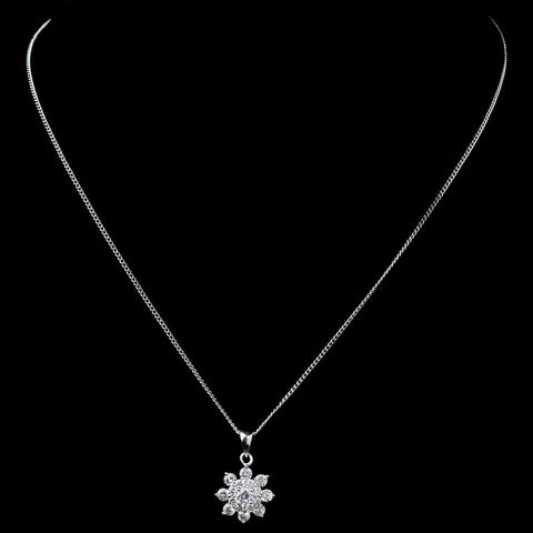 Rhodium CZ Snowflake Pendant Bridal Wedding Necklace 9852