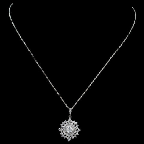 Rhodium CZ Sun Pendant Bridal Wedding Necklace 9853