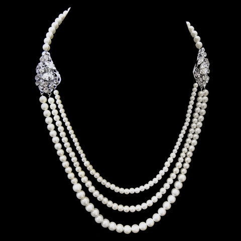 Antique Rhodium Silver 3 Rows Ivory Pearl Bridal Wedding Necklace 9859
