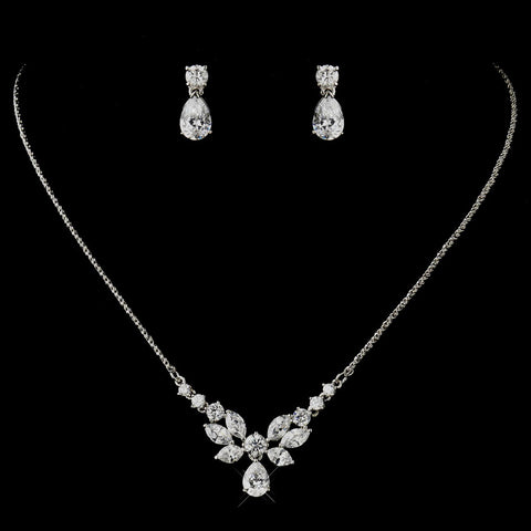 Silver Clear CZ Crystal Floral Necklace & Tear Drop Earrings Bridal Wedding Jewelry Set 9951