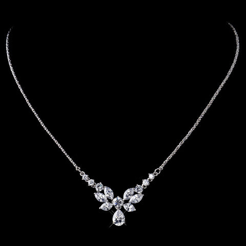 Butterfly Drop CZ Bridal Wedding Necklace N 9951