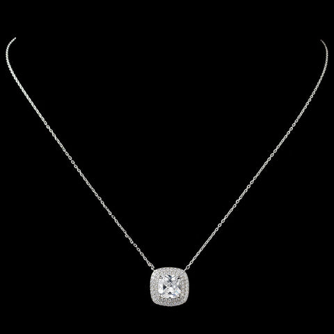 Rhodium Clear Cushion CZ Pendant Bridal Wedding Necklace