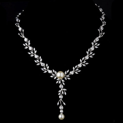 Silver Ivory Pearl Drop & Clear CZ Stone Bridal Wedding Necklace 9955
