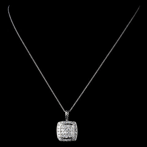 Solid 925 Sterling Silver CZ Crystal Square Pave Pendent Drop Bridal Wedding Necklace 9989