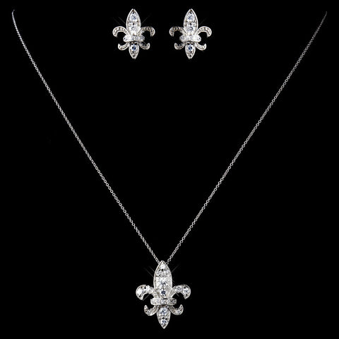 Solid 925 Sterling Silver Clear CZ Crystal Fleur De Lis Bridal Wedding Jewelry Set 9991