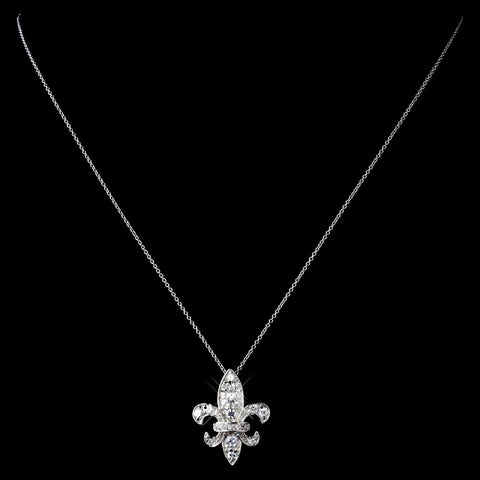 Solid 925 Sterling Silver CZ Crystal Fleur De Lis Bridal Wedding Necklace 9991