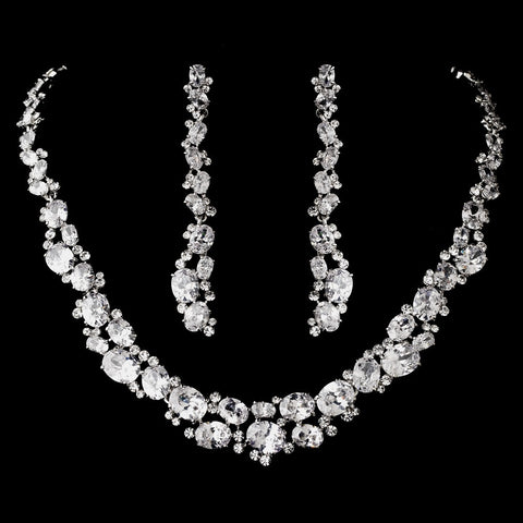 Silver Clear Cubic Zirconia Bridal Wedding Necklace Earring Set 1275