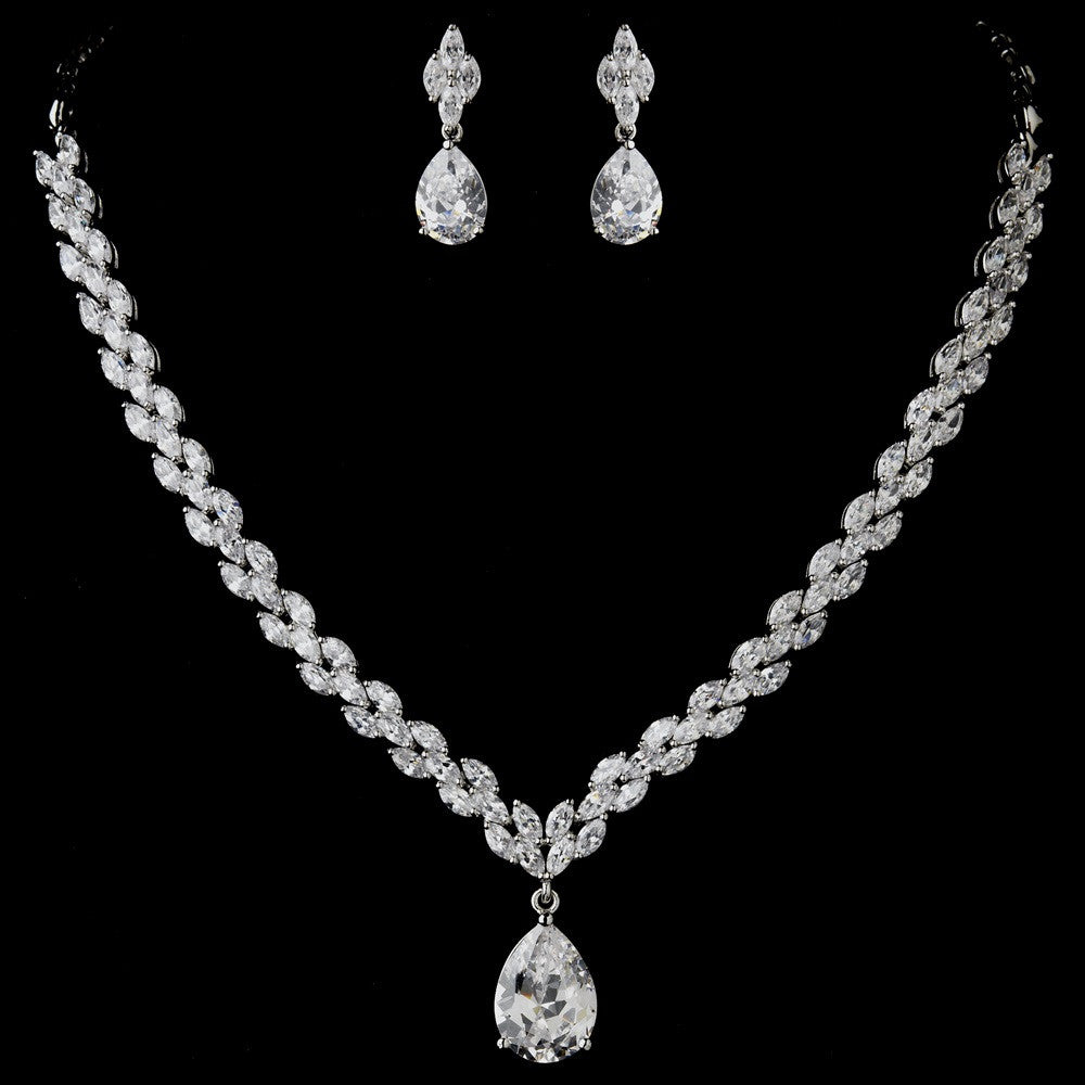 Antique Silver Clear CZ Tear Drop Stone Bridal Wedding Jewelry Set 1285