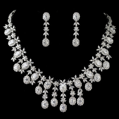 Rhodium Clear Multi Cut CZ Crystal Bridal Wedding Jewelry Set 13046