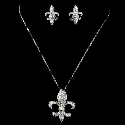 Antique Silver Clear Fleur De Lis CZ Crystal Bridal Wedding Jewelry Set 1309