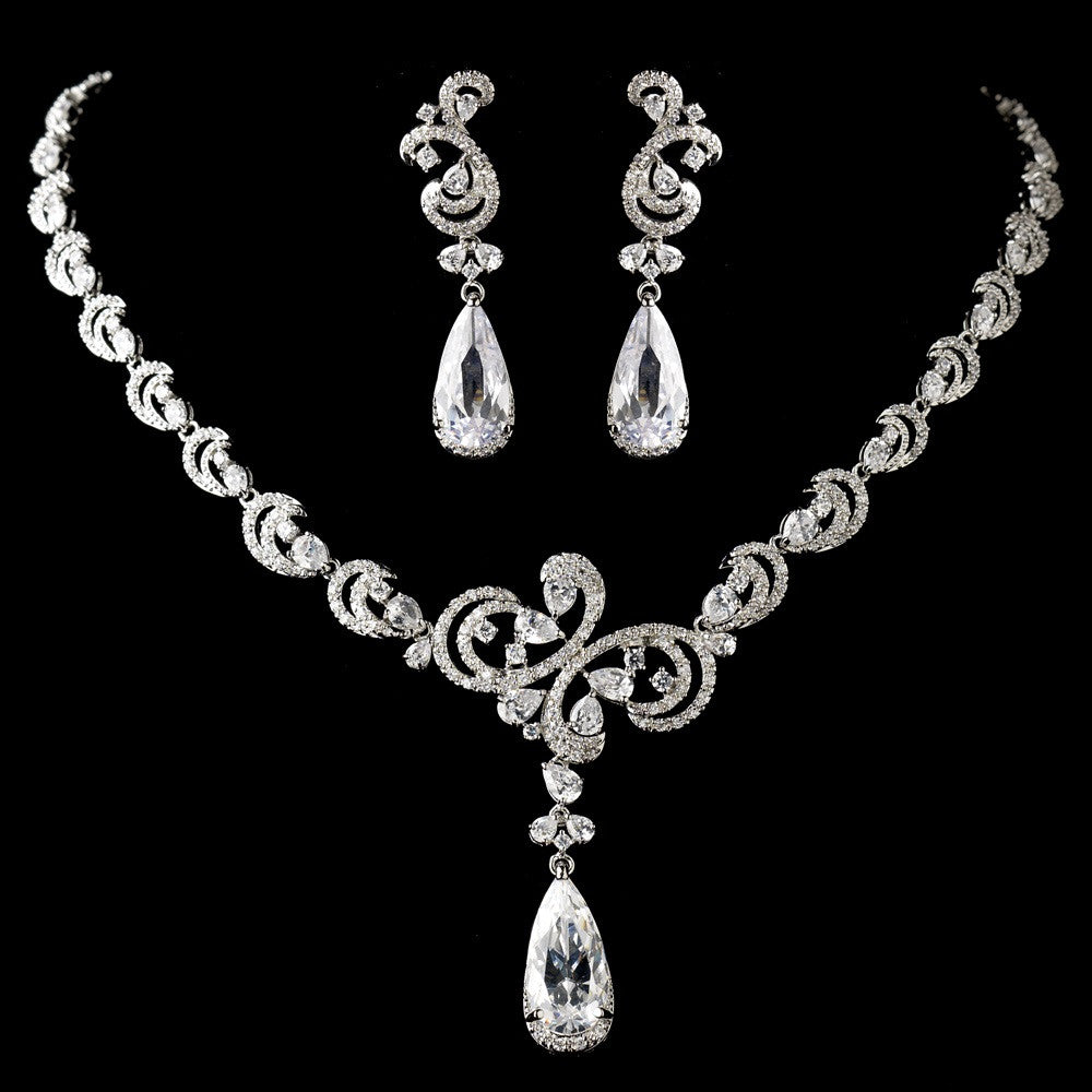 Antique Silver Clear CZ Crystal Bridal Wedding Jewelry Set 1313