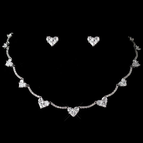 Antique Rhodium CZ Crystal Heart Curved Bridal Wedding Jewelry Set 1580