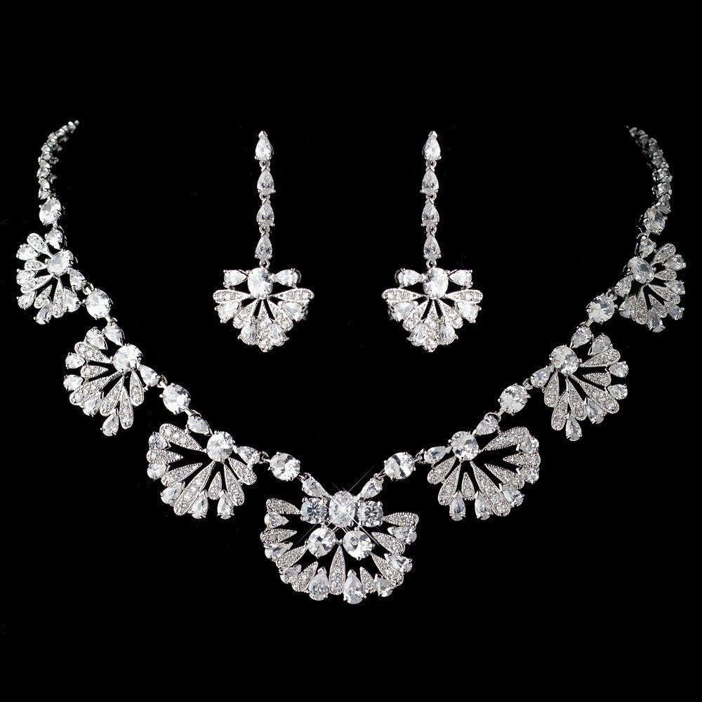 Antique Rhodium Great Gatsby Style Bridal Wedding Jewelry Set 1588