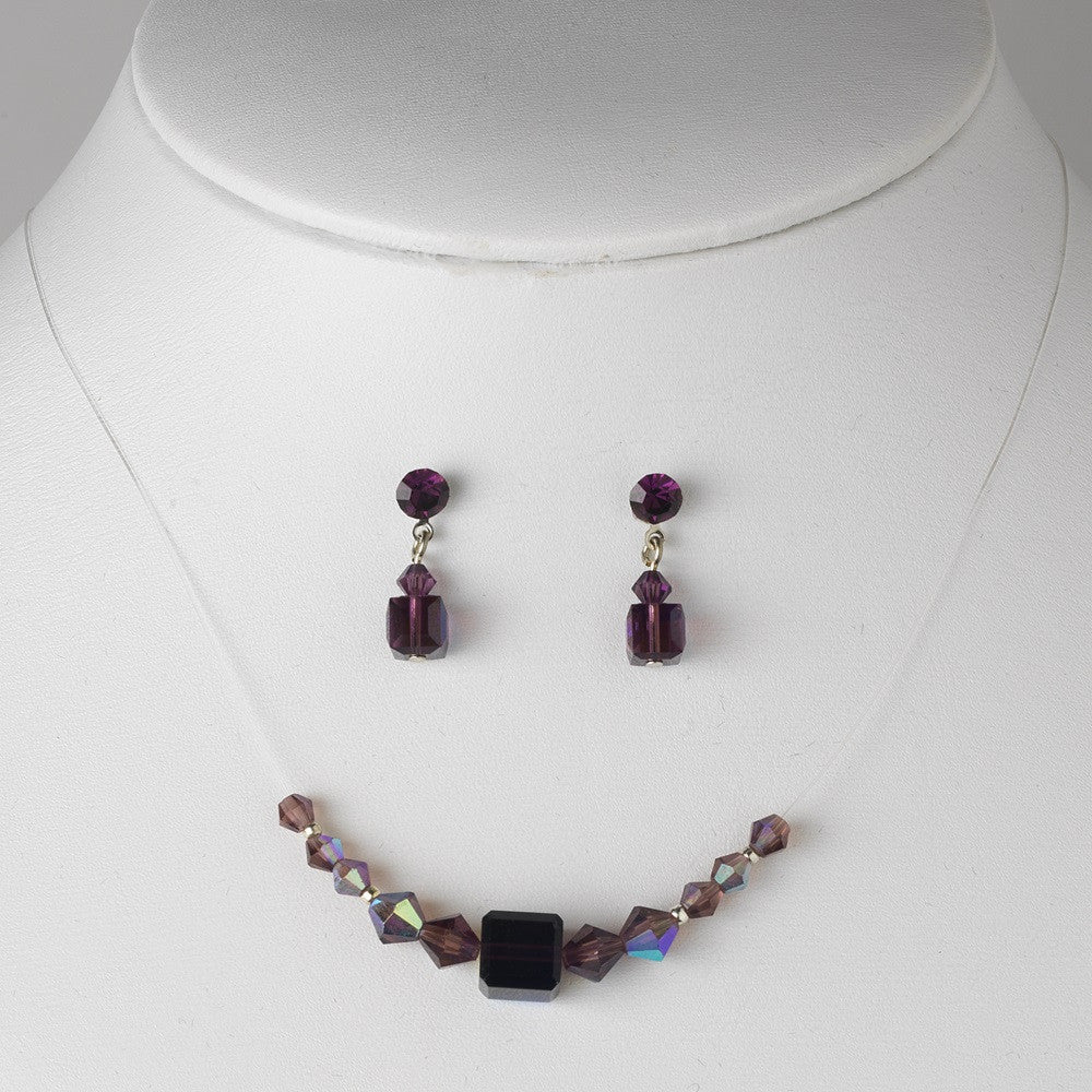 * Amethyst / AB Illusion Bridal Wedding Necklace & Earring Set NE 233