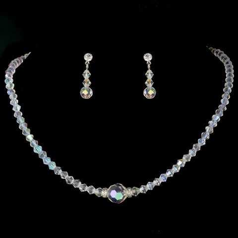 * AB Swarovski Crystal Bridal Wedding Jewelry Set NE 234