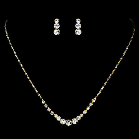 Simple & Sparkling Gold Crystal Bridal Wedding Jewelry Set NE 305