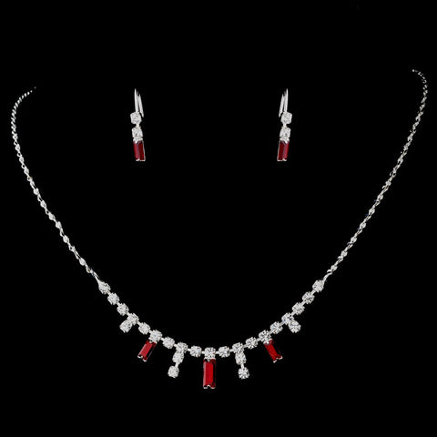 * Silver Burgundy Bridal Wedding Necklace Earring Set 332