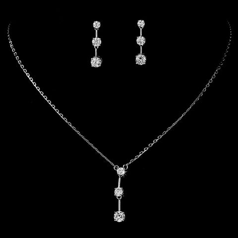 Three Stone Cubic Zirconia Bridal Wedding Jewelry Set NE 3516
