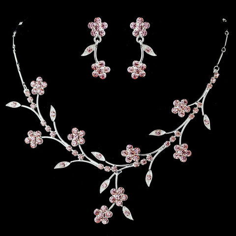 Bridal Wedding Necklace Earring Set NE 363 Silver Pink