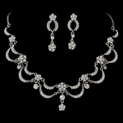 * Victorian Rhinestone Bridal Wedding Jewelry Set 411