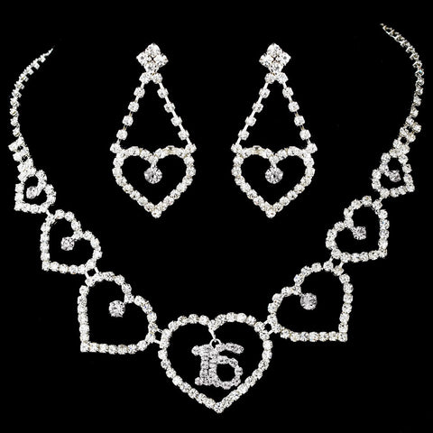 Matching Sweet 15/16 Rhinestone Bridal Wedding Necklace Earring Bridal Wedding Jewelry Set 460