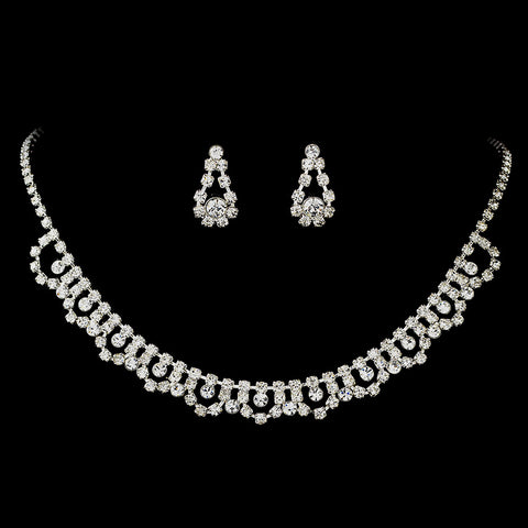 Bridal Wedding Necklace 2606 Earring 5195 Silver Clear