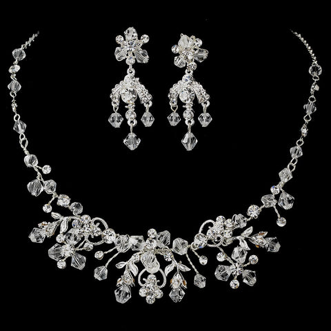 Silver Clear Swarovski Crystal Jewelry 6317 & Bridal Wedding Headband 7820 Set