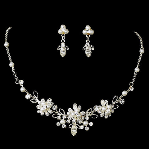 Dainty Silver Clear Rhinestone & White Pearl Flower Jewelry 6858 & Bridal Wedding Tiara 8452 Set