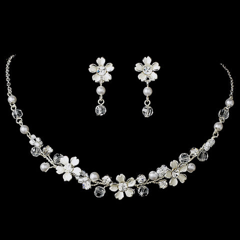 Fabulous Silver Clear Crystal & White Pearl Flower Jewelry 6878 & Bridal Wedding Headband 7877 Set