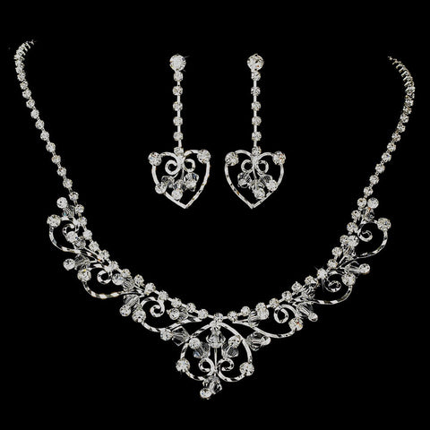 Fabulous Silver Clear Rhinestone & Austrian Crystal Jewelry & Bridal Wedding Tiara Set 7034