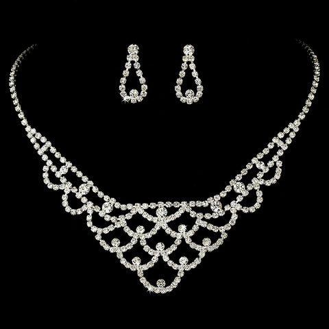 Statement Bridal Wedding Necklace Earring Set 70918 Silver Clear