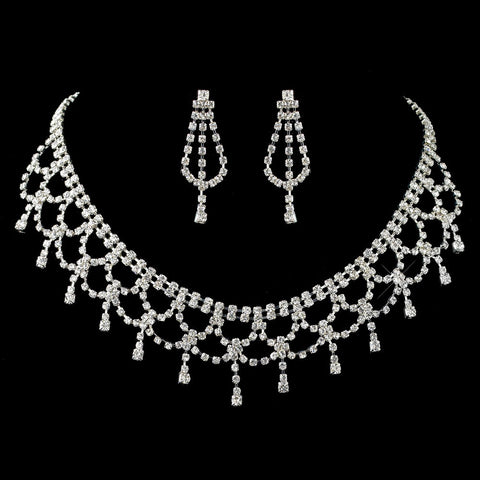 * Elegant & Bold Rhinestone Statement Bridal Wedding Jewelry Set NE 70926