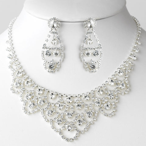 Silver Clear Statement Bridal Wedding Jewelry Set 71338