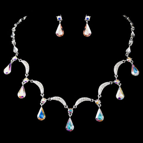 Silver Aurora Borealis Bridal Wedding Necklace Earring Set 71562
