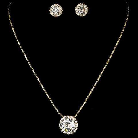 Simple Round Pendant Bridal Wedding Jewelry Set NE 71576