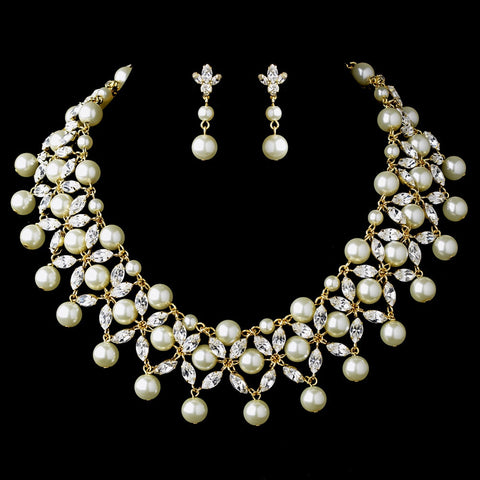 Gold Ivory Bridal Wedding Necklace Earring Set 71636